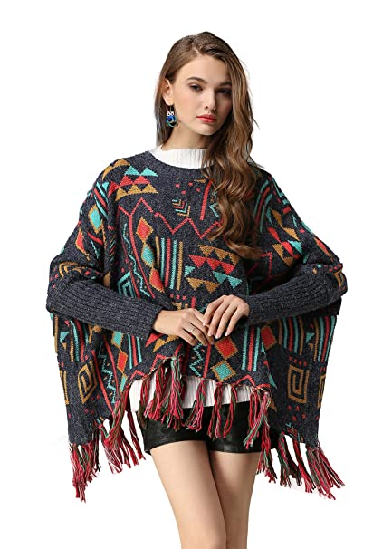 fffb1040f Women's Geometric Pattern Aztec Cape Poncho Sweater With Fringe Tassels Hem Knitwear  Jumper at Amazon Women's Clothing store: