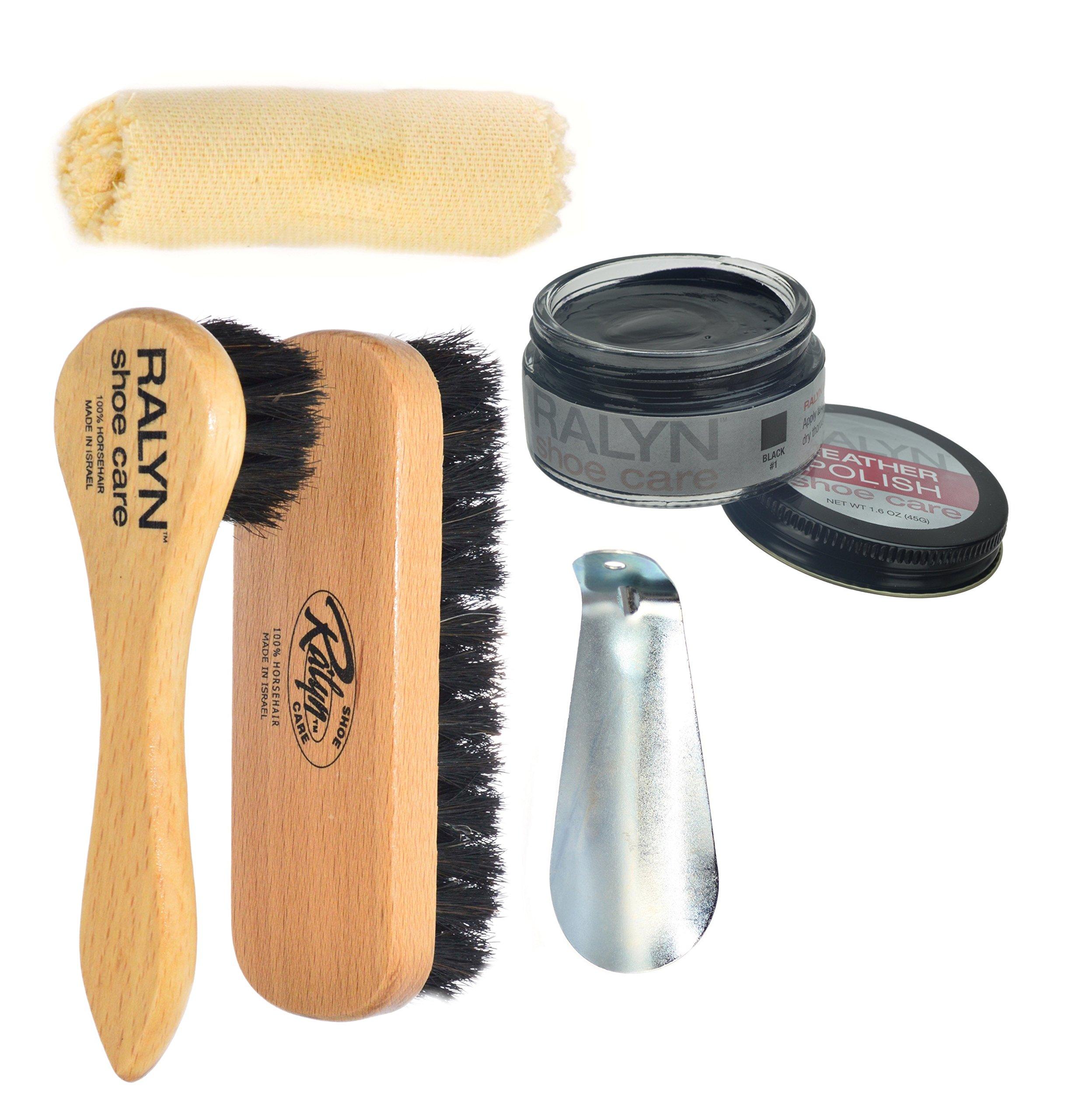 Ralyn Travel Shoe Shine Kit. 100% Horsehair Brush & Dauber. Black Leather Cream Polish. & more.