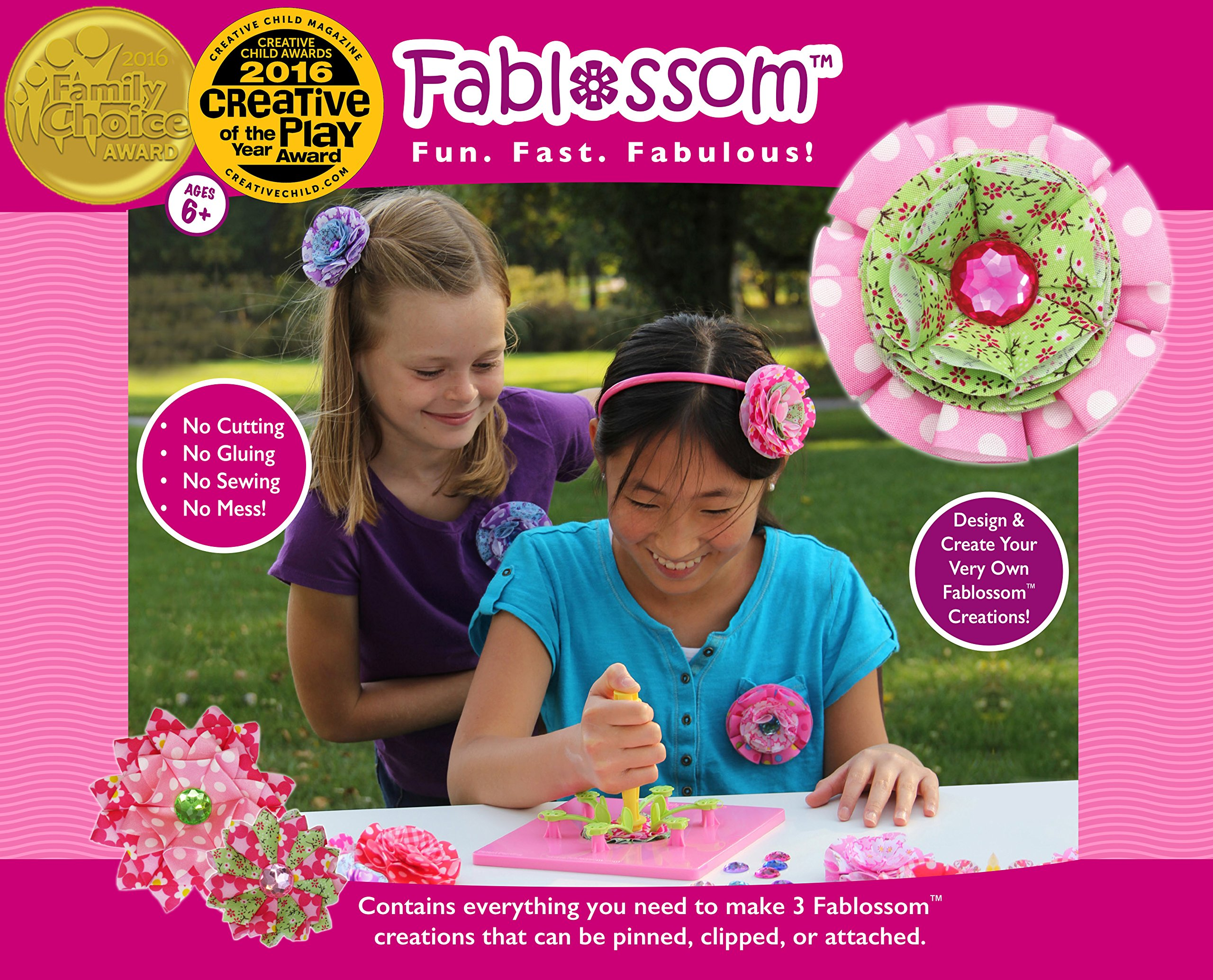 Fablossom Fabric Starter Kit: DIY Kit to Design & Create Fabric Flowers for Headbands - Best Craft for Girls