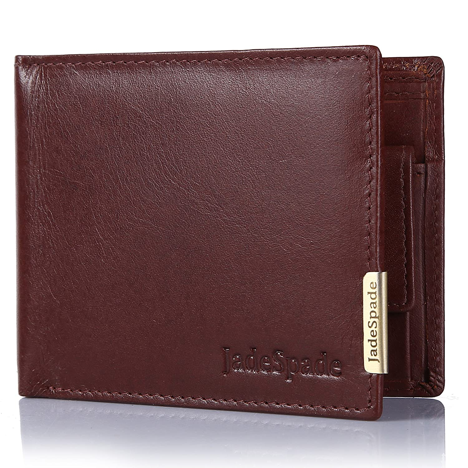 Jade Spade RFID Wallet Bi-Fold Slim Leather Wallet with 8 Card Slots(Cognac Brown)