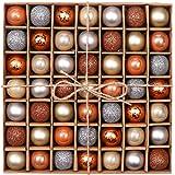 "Valery Madelyn 49Pcs 1.2""/3cm Copper Sensation Christmas Baubles Ornaments, Shatterproof Christmas Tree Balls Pendants Table Decorations"