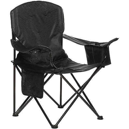 AmazonBasics Silla de camping con enfriador Negro Acolchada XL