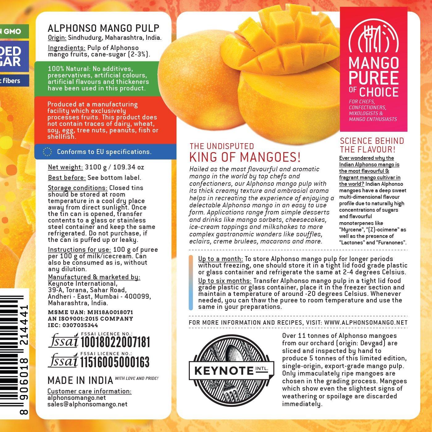 Keynote Alphonso Mango Pulp with 3% Added Sugar 3100 g