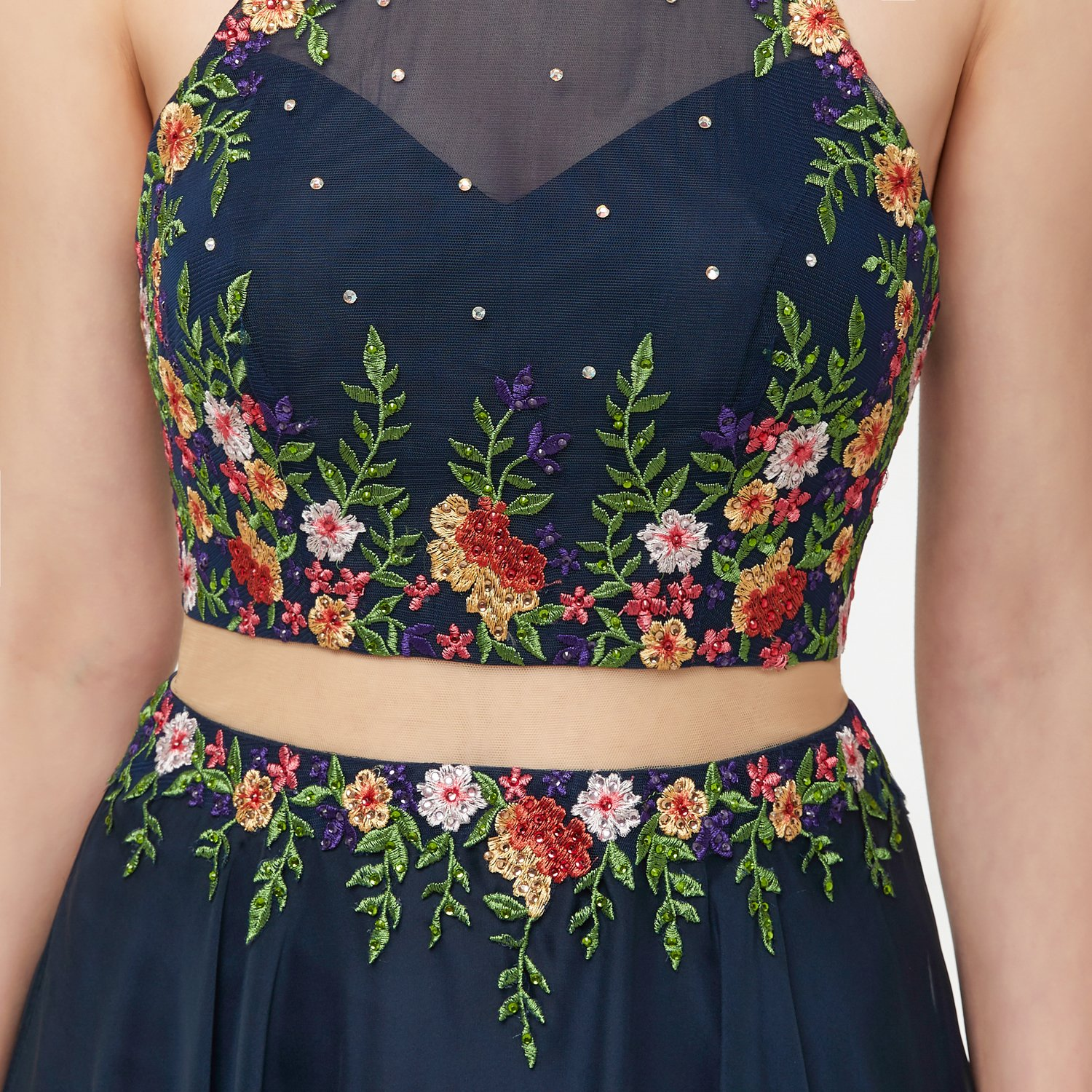 2d90e829c7ccb Okaybrial Women s Plus Size Evening Dress Halter Embroidery Two Piece  Evening Party Dress at Amazon Women s Clothing store