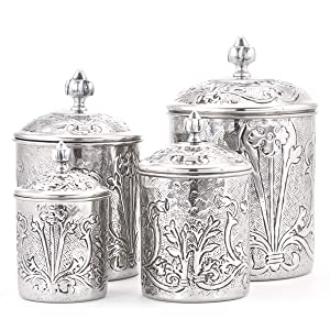 Old Dutch 501SS 4 Piece Art Nouveau Stainless Steel Canister set One Size Antique Pewter