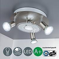 B.K. licht plafonnier LED, 4 spots x3W inclus, spots LED orientables, éclairage salon, salle à manger, cuisine, chambre, lumière blanche chaude, 230V, IP20