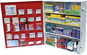 Rapid Care First Aid 865-15-1F 4 Shelf All Purpose Extra Wide First Aid Cabinet/Trauma Center, ANSI 2015 Class B+, Wall Mountable, 1,063 Pieces