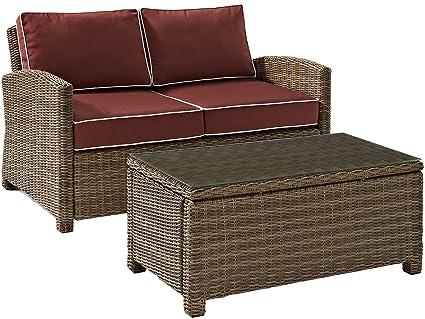 Bon Crosley Furniture Bradenton 2 Piece Outdoor Wicker Conversation Set With  Cushions   Sangria