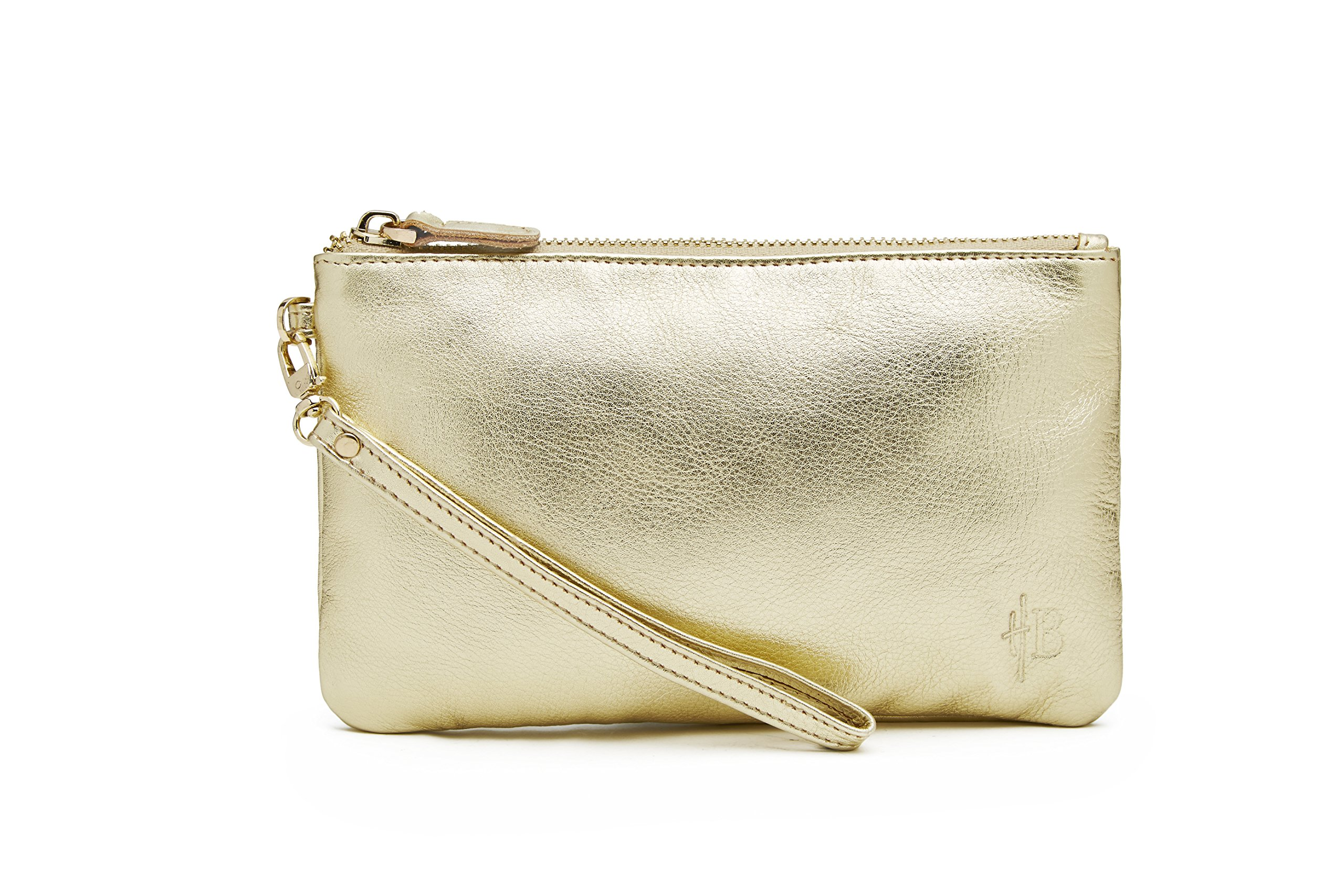MightyPurse Genuine Leather Phone Charging Wristlet Gold