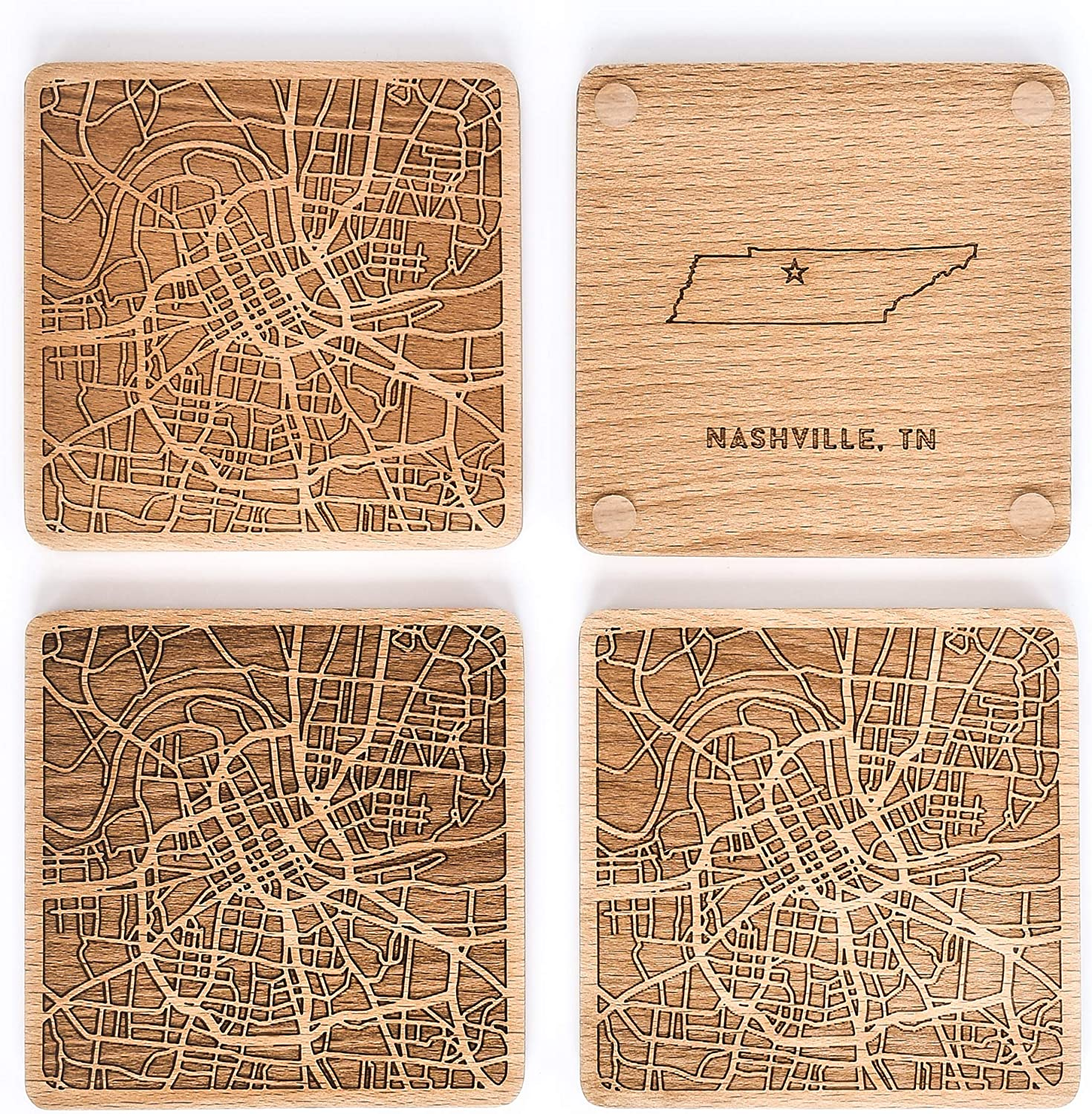 Greenline Goods Beech Wood Coasters Etched Wooden Coaster Set for Nashville Lovers | Set of 4 | Etched with Nashville Map and State of Tennessee | 2 Sided |