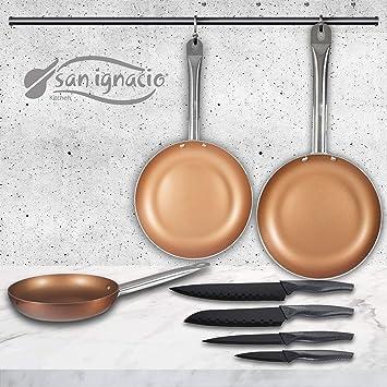 San Ignacio Copper Plus Set de 3 sartenes + 4 Cuchillos de Cocina: Amazon.es: Hogar