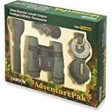 Carson AdventurePak Containing 30mm Kids Field Binoculars, Lensatic Compass, Flashlight and Signal Whistle with a Buit-in Thermometer (HU-401)