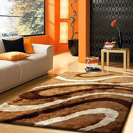 Alfombra Color Café con Beige Diseno combination hecha a mano estilo moderno suave y lujosa ,