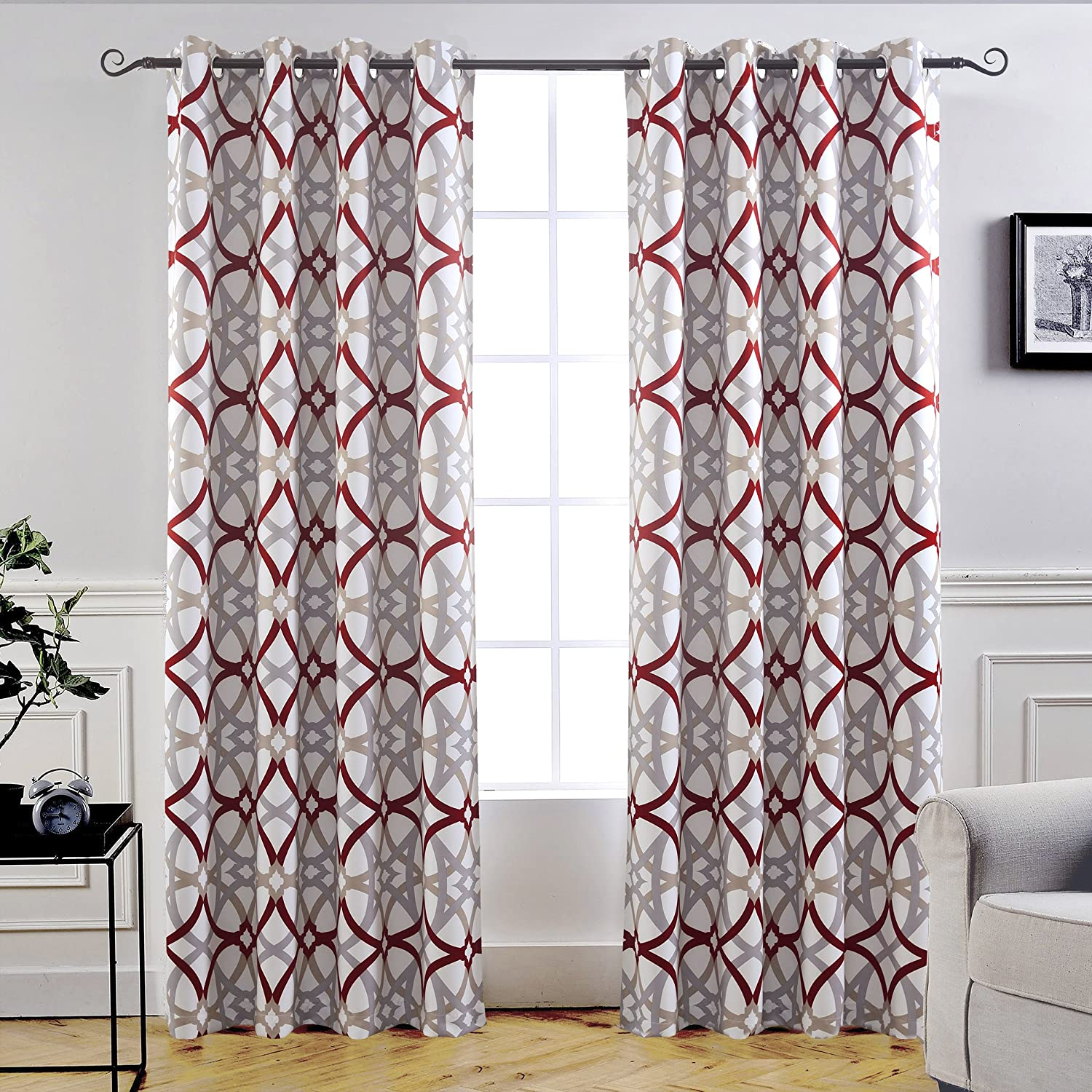 "DriftAway Alexander Thermal Blackout Grommet Unlined Window Curtains, Spiral Geo Trellis Pattern, Set of Two Panels, Each Size 52""x84"" (Red/Gray)"