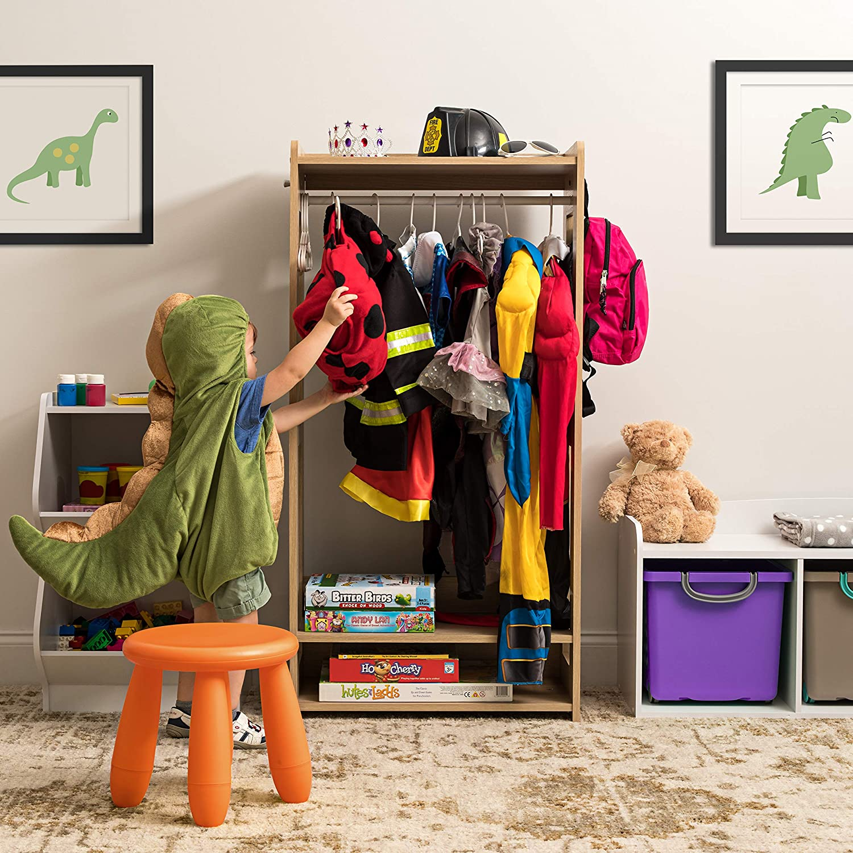 IRIS USA Kids Dress Up Clothing Garment Rack, Natural