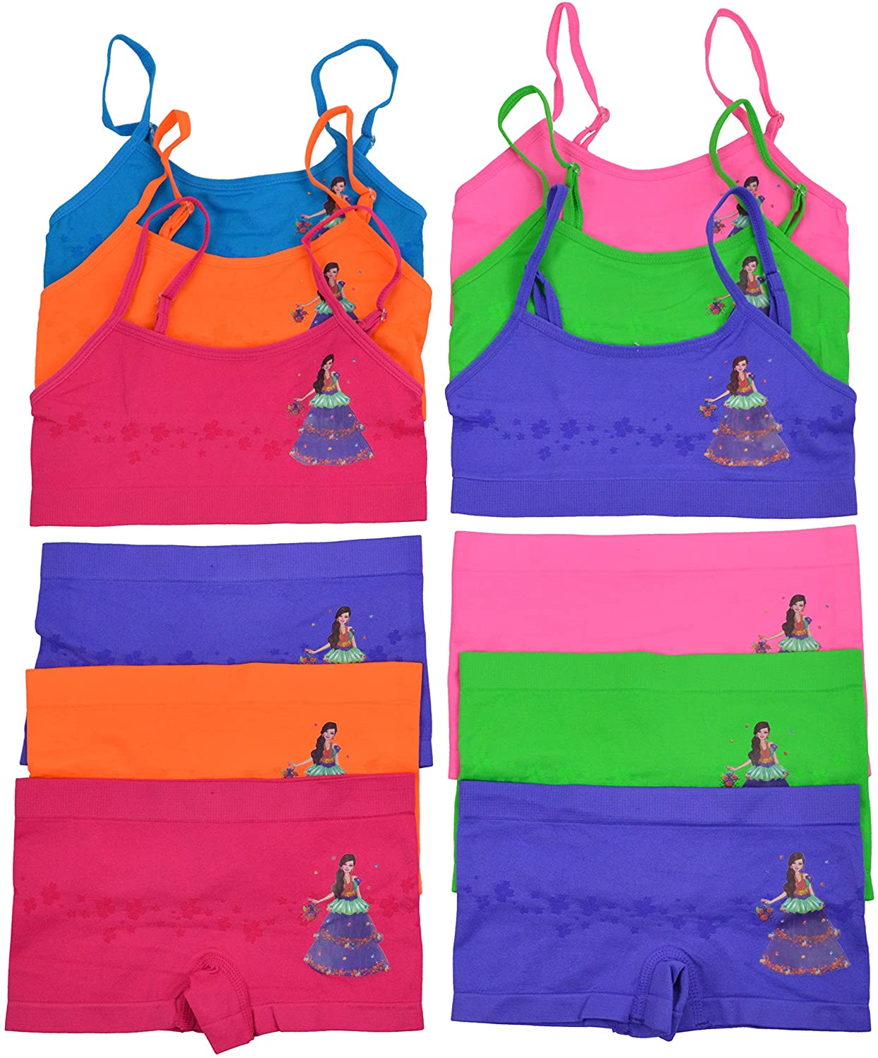Ages 4-6 3/_/_n68e810/_kfmf/_0p1a9s6i ToBeInStyle Girls Pack of 6 Set of Spaghetti Strap Bras and Boyshorts Bikinis Glitter Dress Small