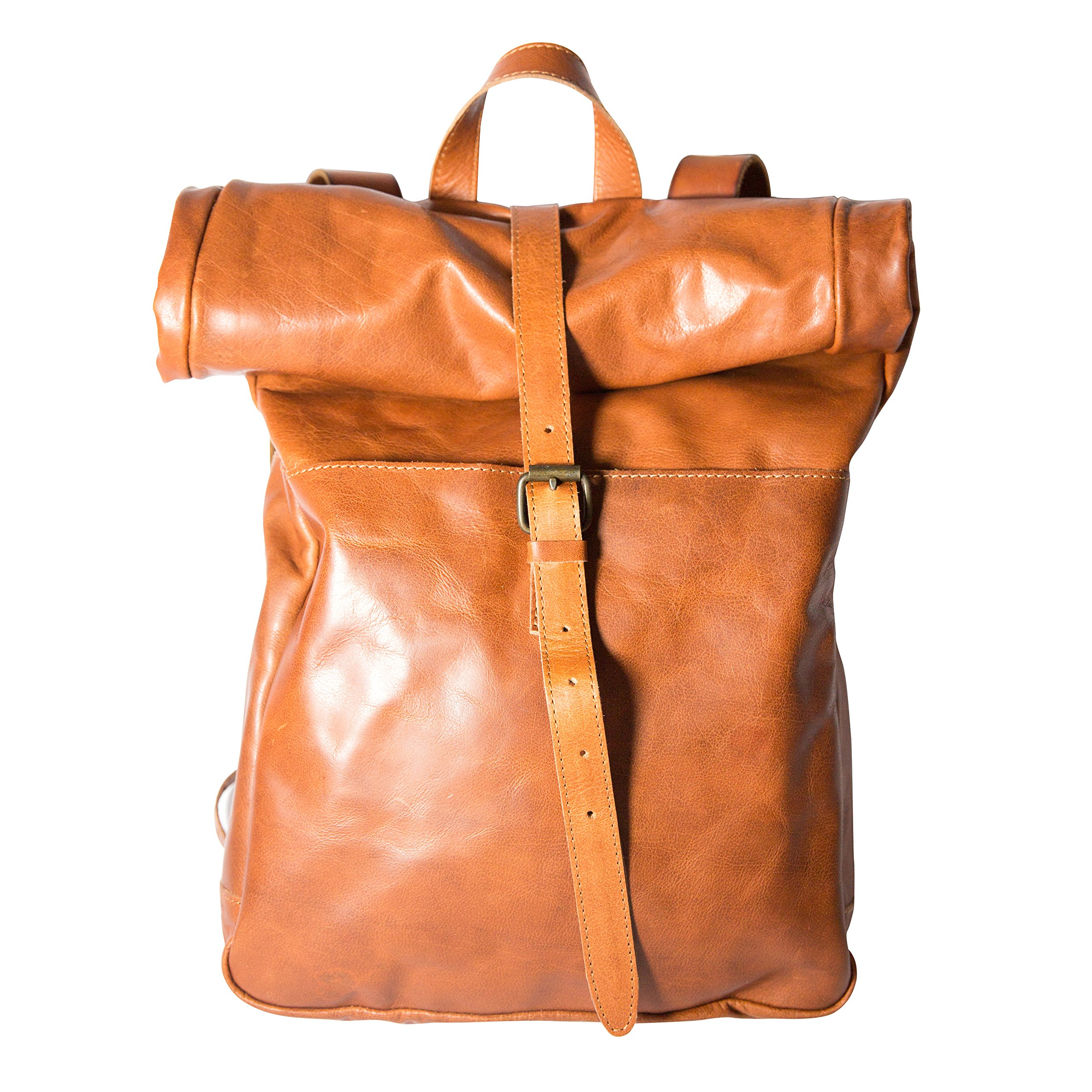 Leather Rolltop Backpack, Vintage Style Bag, Leather Rucksack Travel Backpack by Huxtan (Image #1)