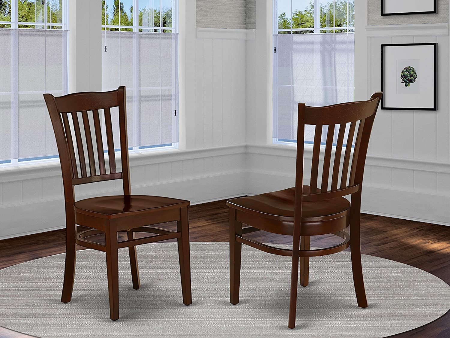 GRC-MAH-W Groton Dining Chair With Wood Seat In Mahogany Finish