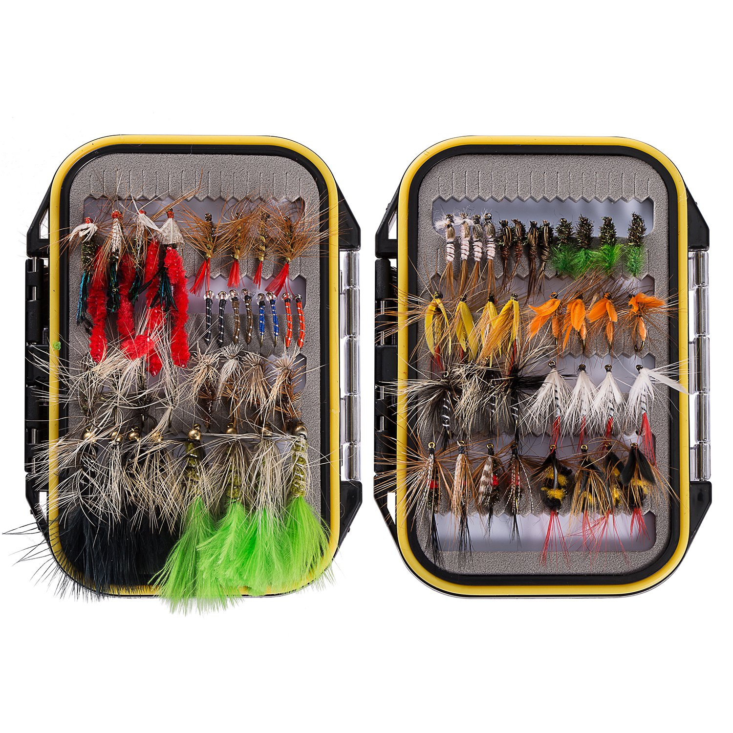 Bassdash Fly Fishing Assorted Flies Kit, Pack of 72 pcs Fly Lure Including Dry Flies, Wet Flies, Nymphs, Terrestrials, Midges, Streamers and More, with Double-Side Waterproof Fly Box by Bassdash