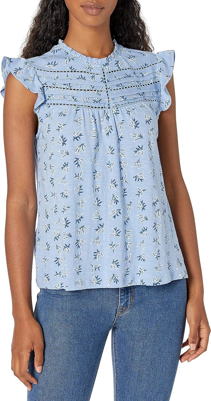 Lucky Brand Women's Flutter Sleeve High Neck Printed Top