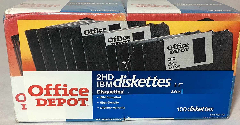"Office Depot Brand 3 1/2"" Bulk Diskettes, IBM Format, 2HD, Black, Box Of 100"