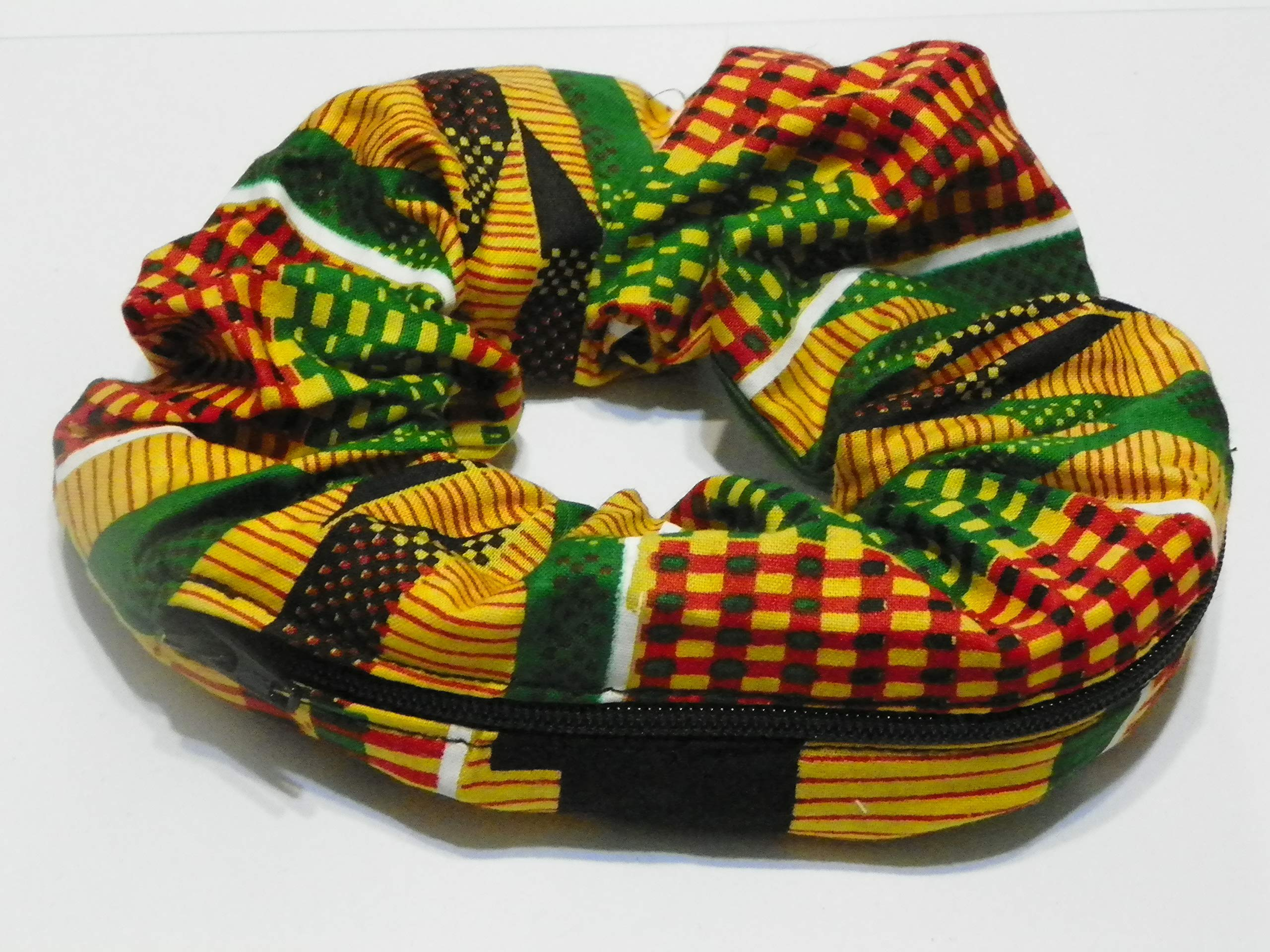 African multi color print design Handmade Scrunchie Purse w zipper storage Great for Gym Swim Jog by Yvonnes Alterations & Designs