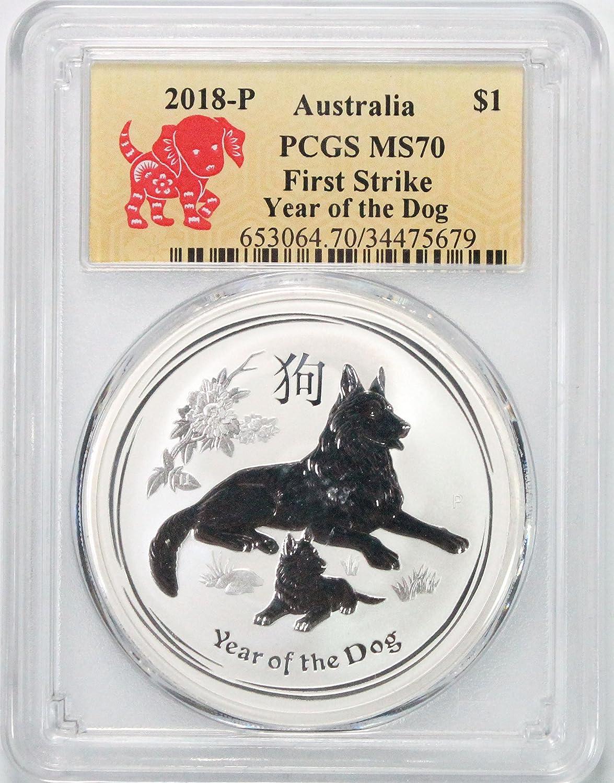 2018 AU Australia Year of the Dog $1 MS70 PCGS First Strike