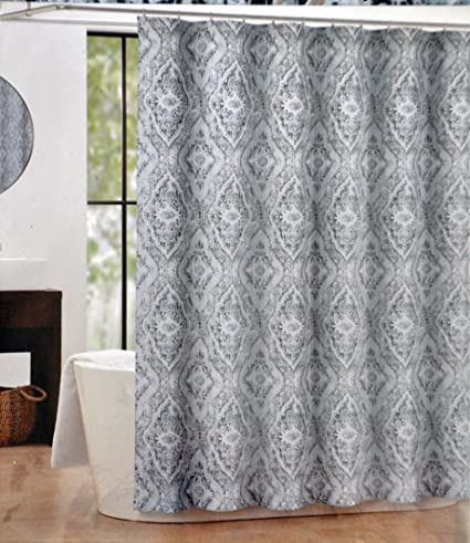 Image Unavailable Not Available For Color Tahari Textured Damask Blue White Tan Fabric Shower Curtain
