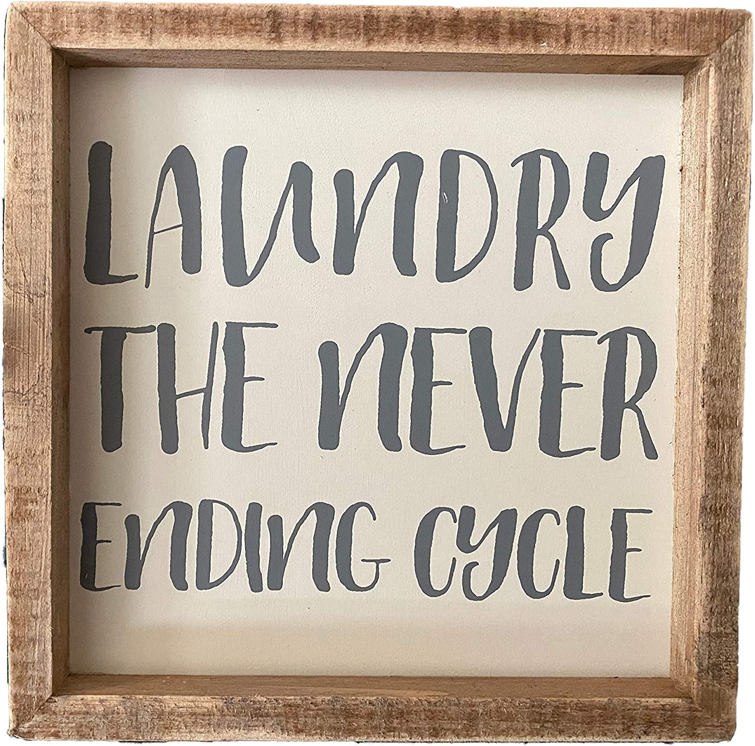 Primitives by Kathy Inset Box Sign - Laundry The Never Ending Cycle