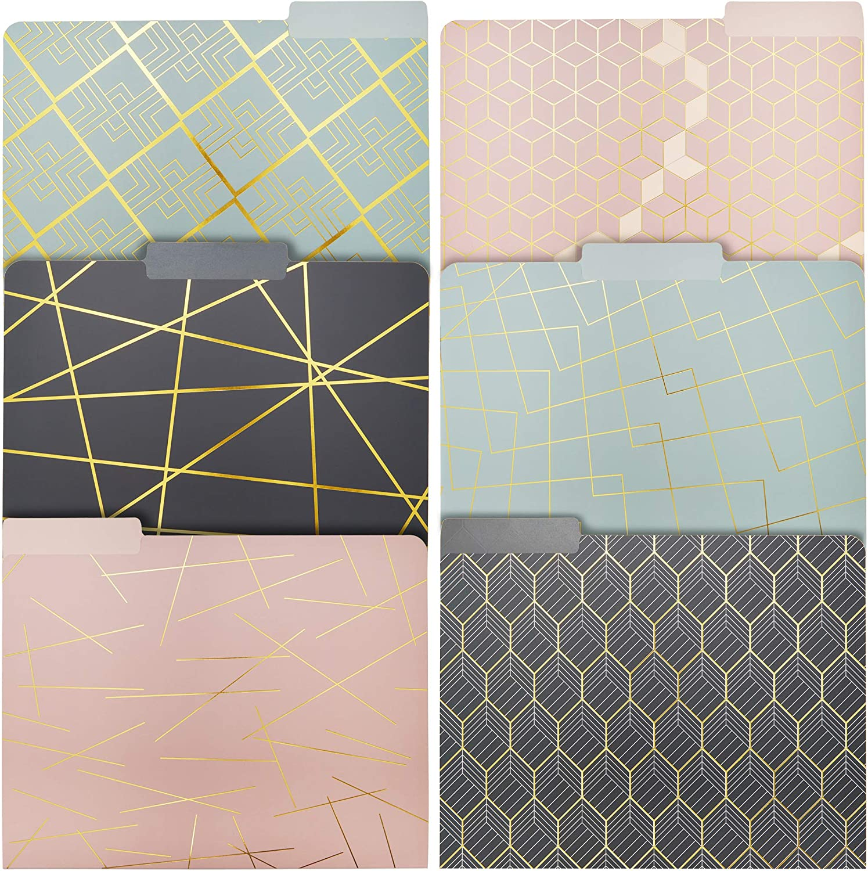 Geometric Gold Foil Decorative File Folders (6 Designs, 12 Pack)