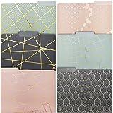 Paper Junkie Geometric Gold Foil Decorative File Folders (6 Designs, 12 Pack)