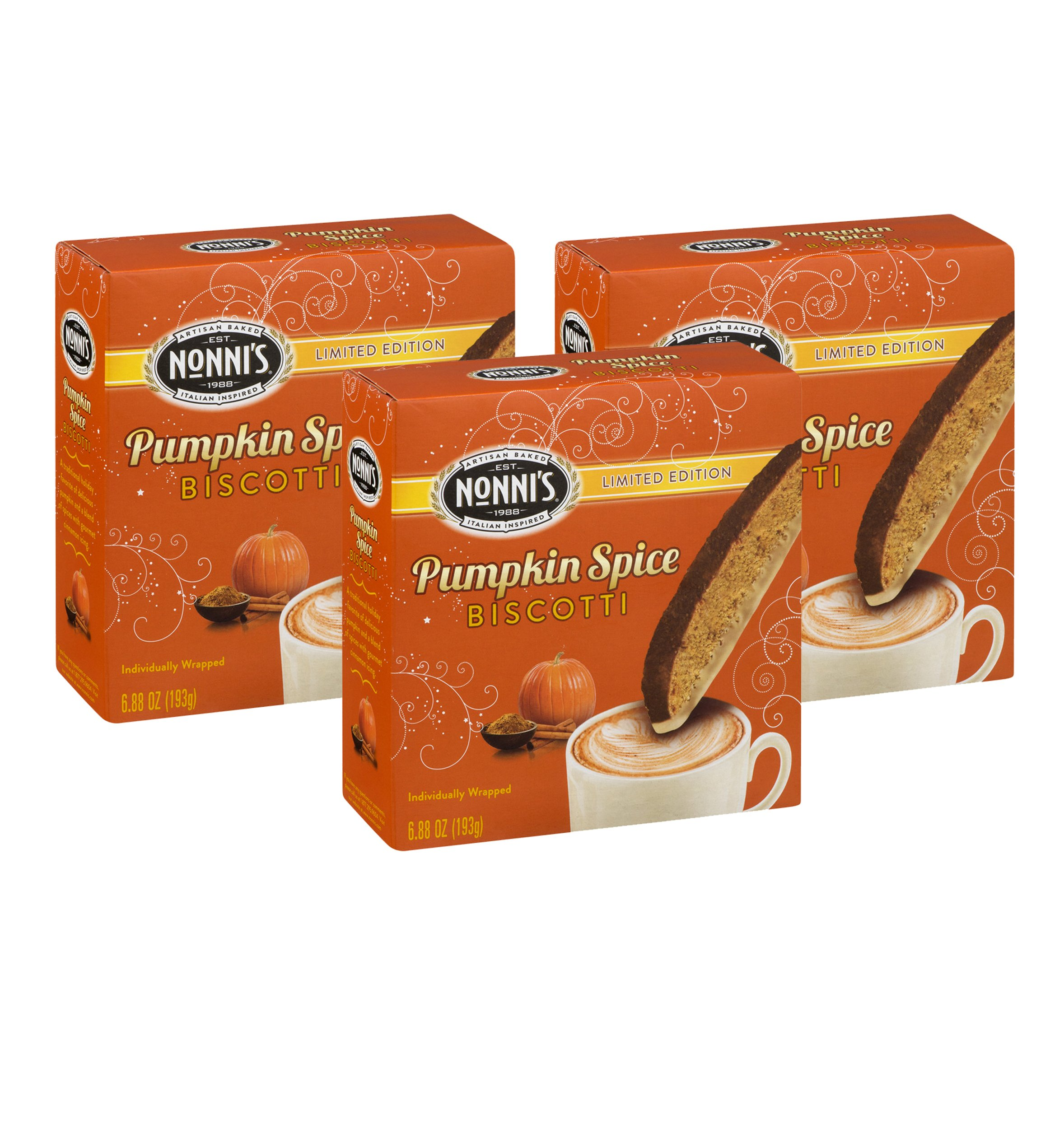 Nonnis Pumpkin Spice Biscotti Limited Edition Individually Wrapped 6.88 Oz. (Pack of 3) by Nonni's