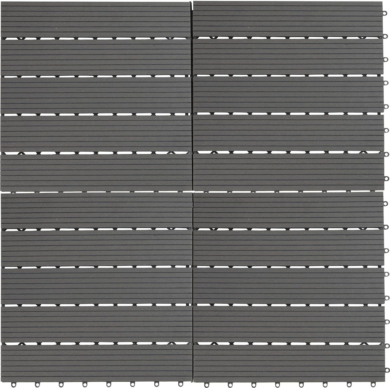 30 x 30 cm aprox. 0,9m2 EVERFLOOR WPC  4600-1000-004 Baldosas de patio perfil macizo gris oscuro 10 piezas