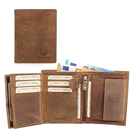 00f74cf0cf4fb ALMADIH Leder Portemonnaie Rindsleder Hochformat - 10 Kartenfächer braun  Vintage P2H - Herren Geldbörse mit Geschenkbox
