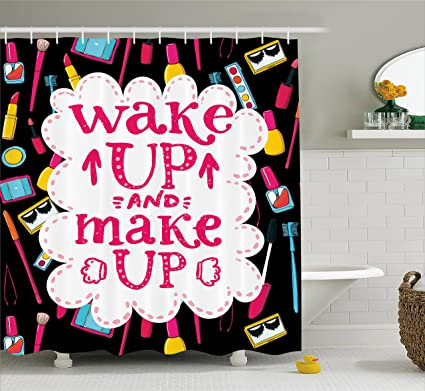 Ambesonne Quote Shower Curtain Witty Saying Wake Up Make With Cosmetic Icons Lipstick Mascara