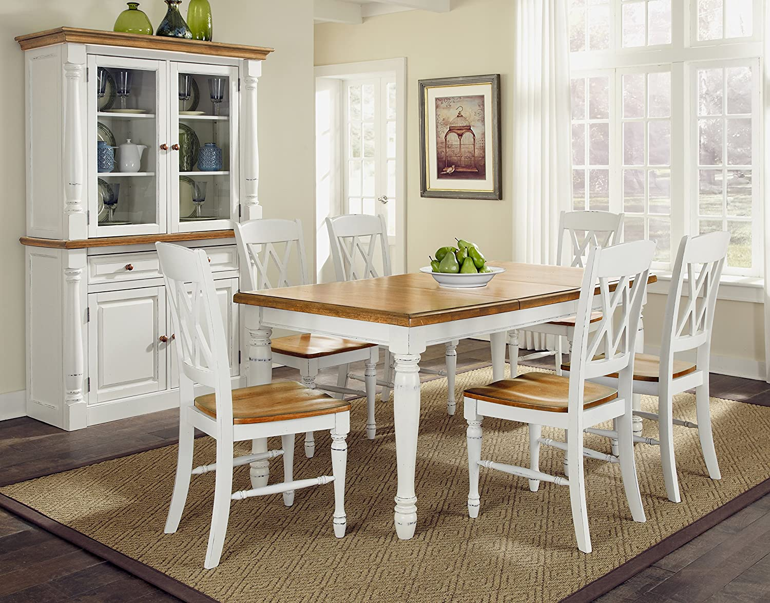 Home Styles Monarch Seven Piece Dining Table Set with Six Double X-Back Chairs with White and Distressed Oak Finish, Strong and Sturdy Crafted from Hardwood solids, Engineered Wood and Veneers, with Removable 18-inch Leaf