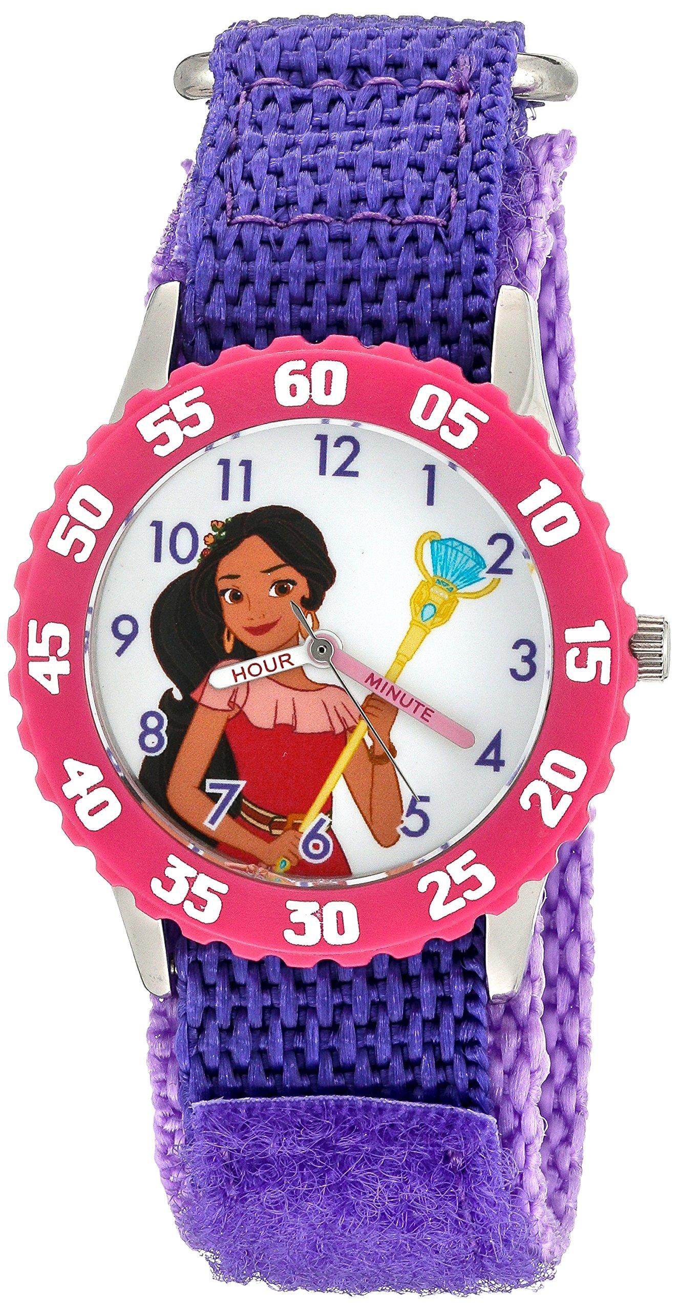 Disney Girl's 'Elena of Avalor' Quartz Stainless Steel and Nylon Watch, Color:Purple (Model: W003036)