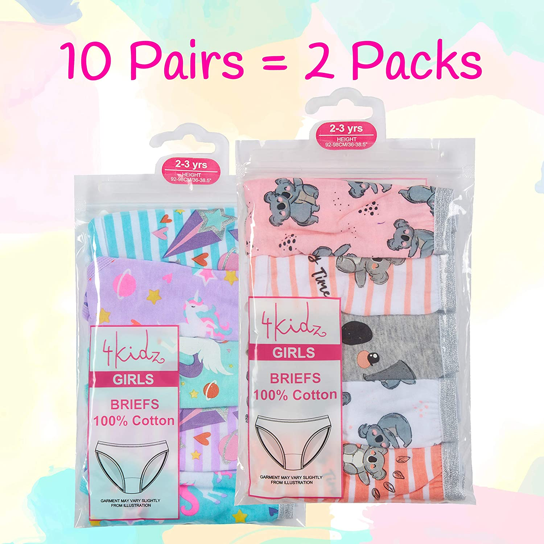 Metzuyan Girls Childrens Kids 10 Pairs Briefs Knickers Pants Glitter Bundle Multipack Underwear Unicorn Koala 9-10 Years