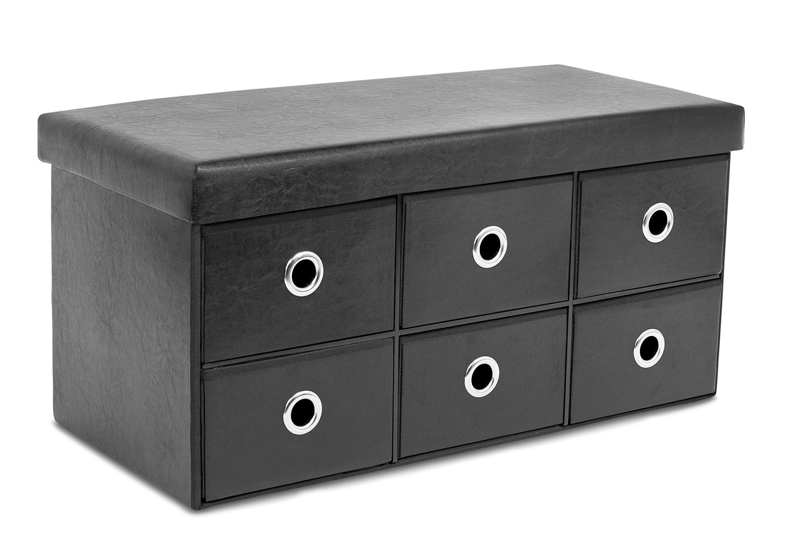 BirdRock Home Storage Bench Ottoman with Drawers | Foldable Storage 6 Cubby Drawer Footstool | Entryway Bedroom Bench | Black