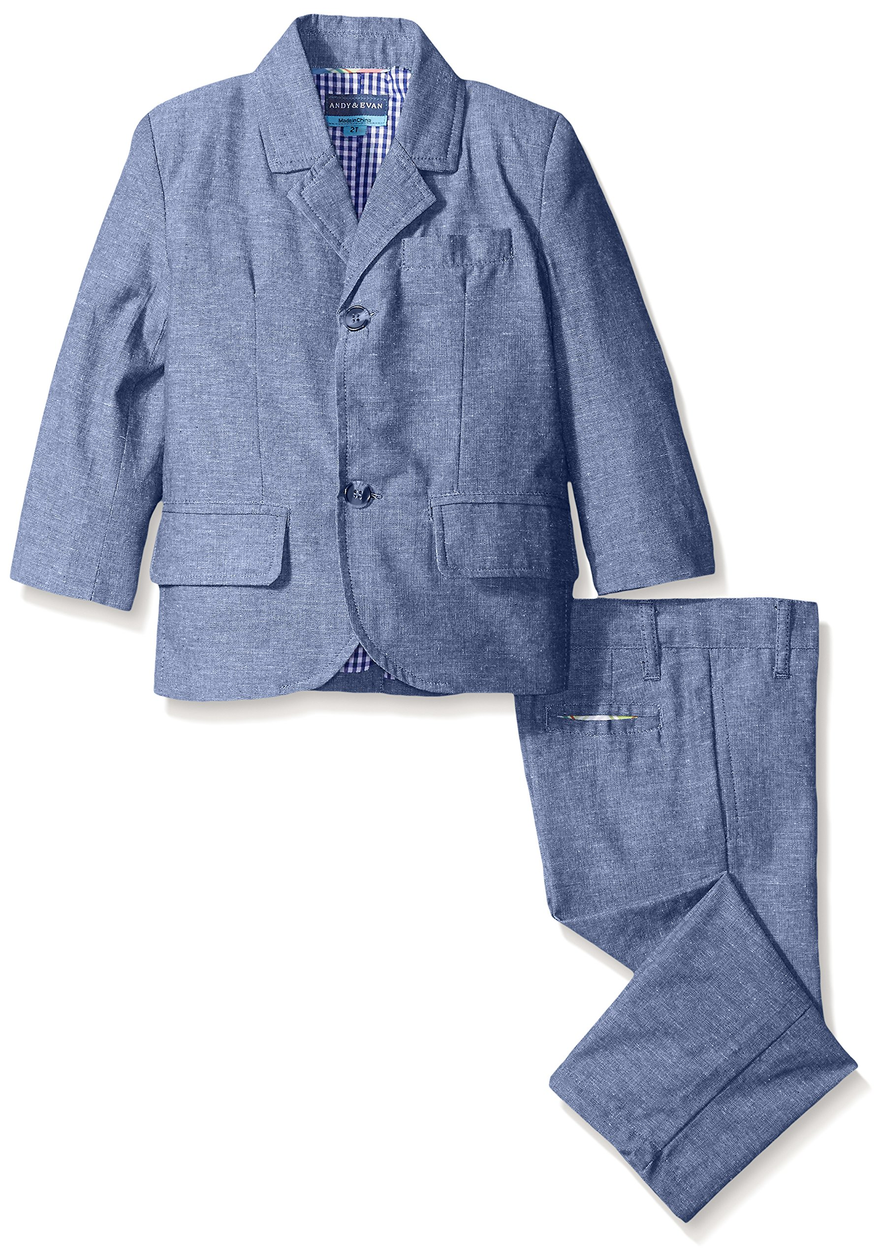 Andy & Evan Toddler Boys Linen Suit Jacket and Pant, Blue, 6 Years