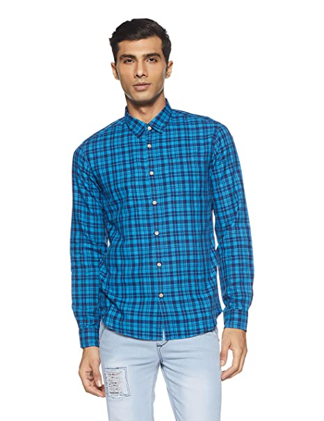 cdc4e49b06b Pepe Jeans Beat London Men s Checkered Slim Fit Casual Shirt  Amazon.in   Clothing   Accessories