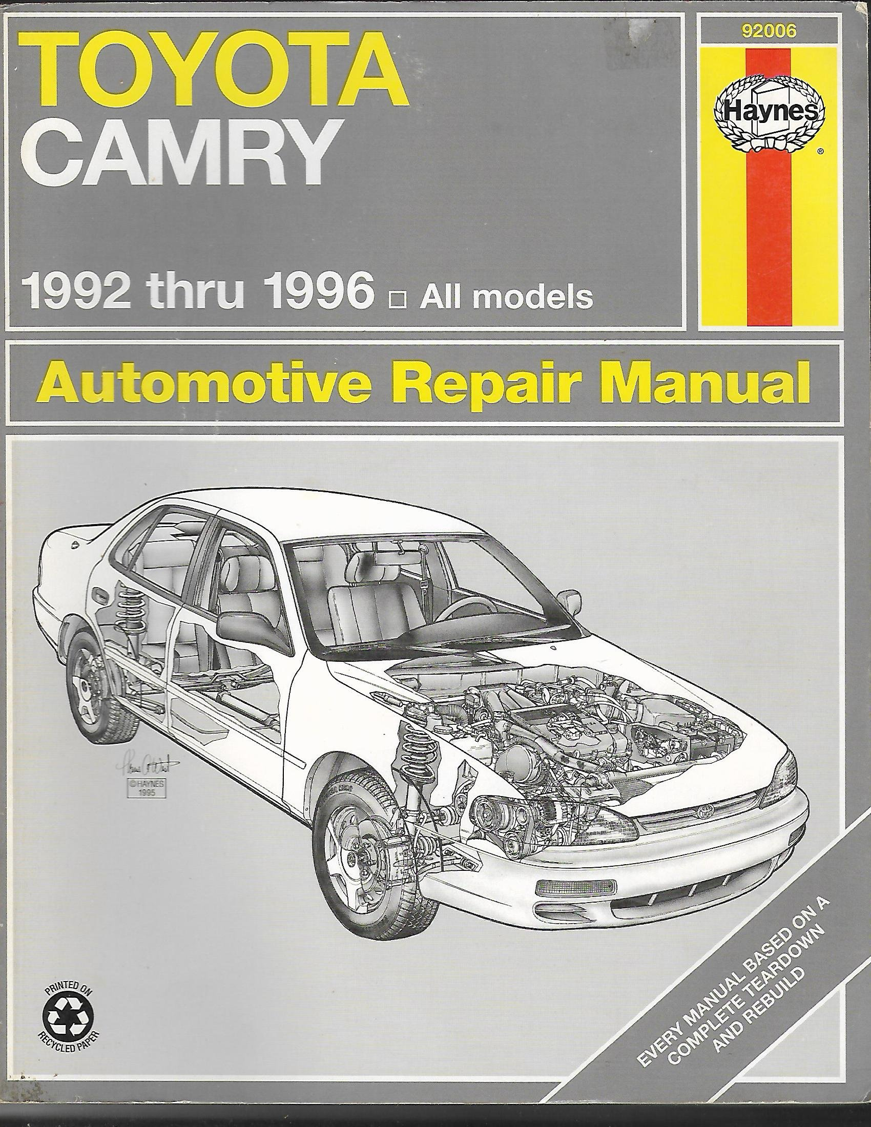 toyota camry automotive repair manual 1992 through 1996 hayne s rh amazon com 2009 Toyota Camry Service Manual Toyota Camry Manual PDF