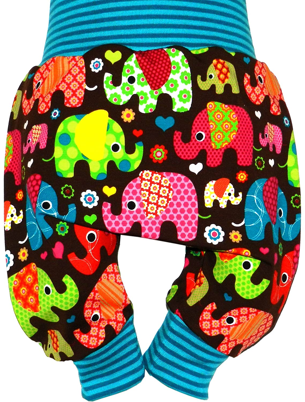 Ollexo Babyhose Pumphose Mitwachshose Kinderhose Schlupfhose Jerseyhose Elefanten