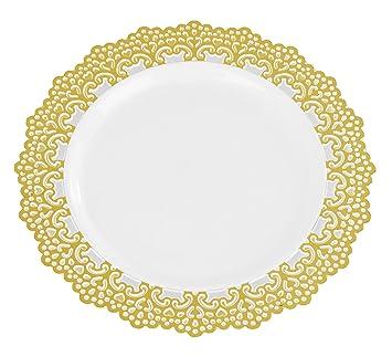 Premium Decorative Plastic Dinnerware Plates - 7.5u0026quot; Inch Round Dinner Plate - 12 Count -  sc 1 st  Amazon.com & Amazon.com: Premium Decorative Plastic Dinnerware Plates - 7.5