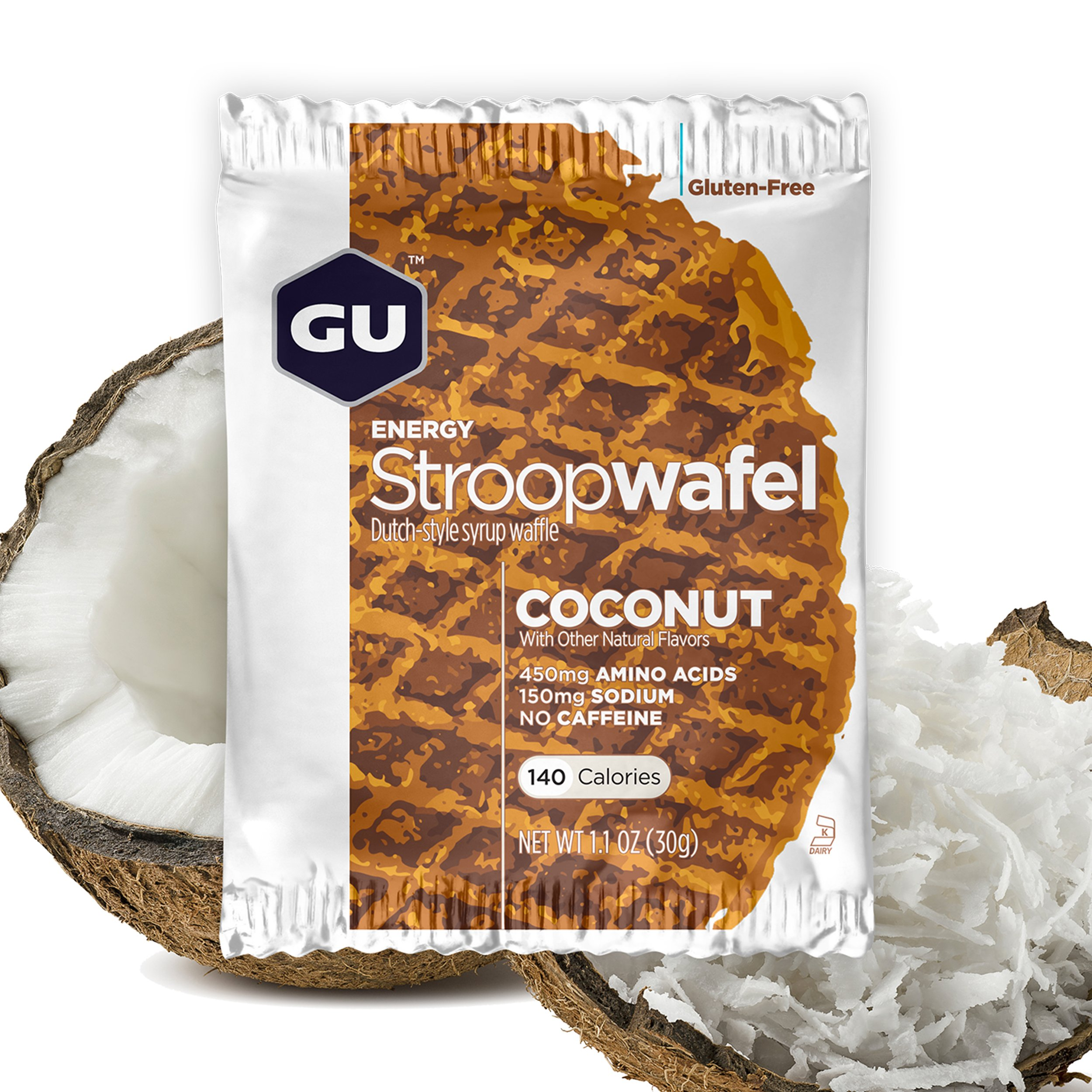 GU Energy Stroopwafel Sports Nutrition Waffle, Gluten Free Coconut, 16-Count