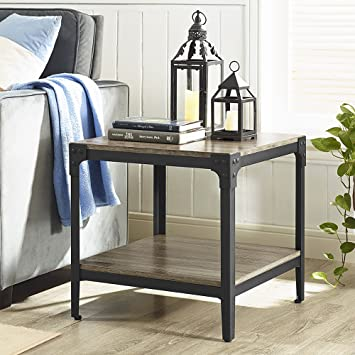 WE Furniture Angle Iron Wood End Tables in Driftwood   Set of 2. Amazon com  WE Furniture Angle Iron Wood End Tables in Driftwood