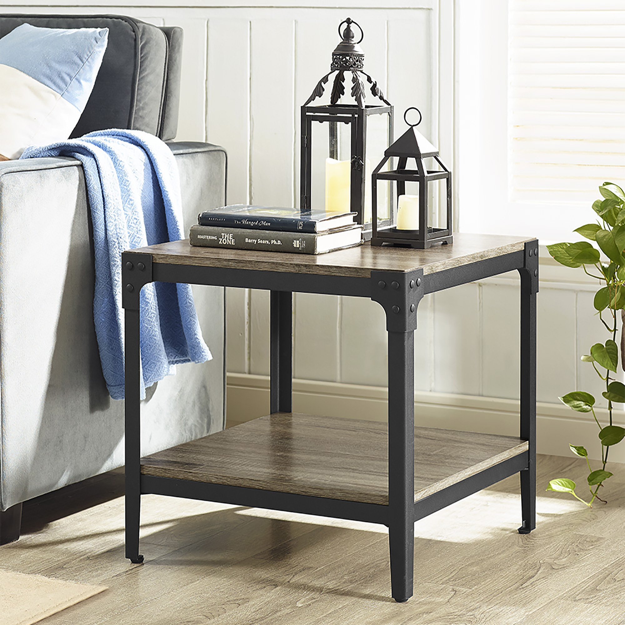 WE Furniture Angle Iron Wood End Tables in Driftwood - Set of 2