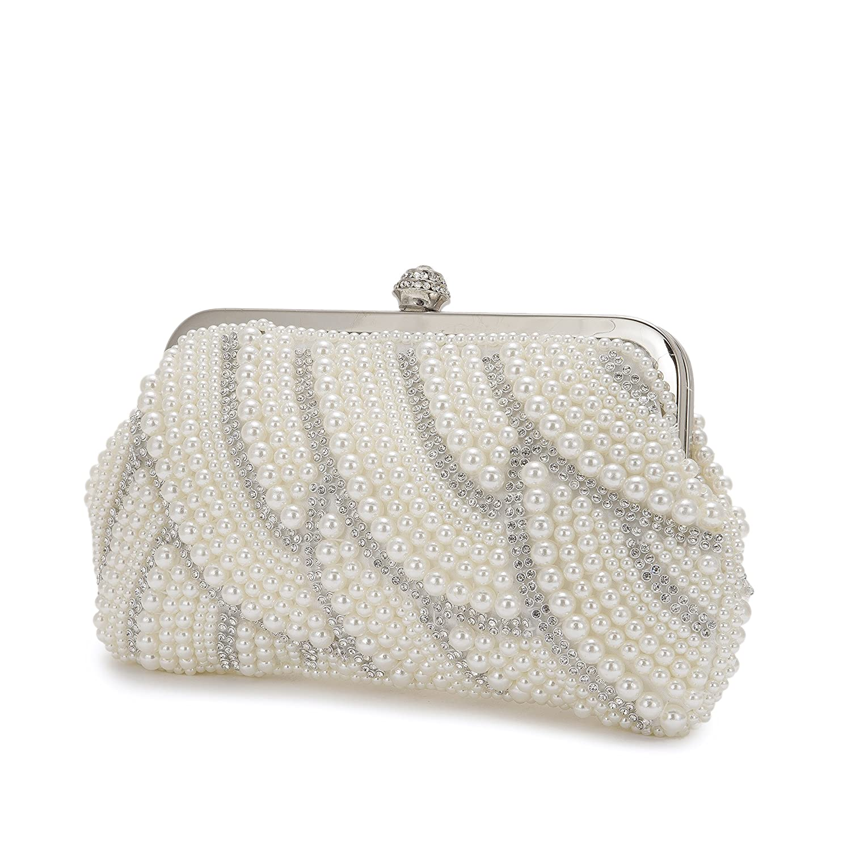 22f73e8498673 Amazon.com: Women's Pearl Beaded Evening Bag pearl evening bags and clutches  Classic vintage evening dress cheongsam bag Handmade Wedding Bags for  Wedding ...