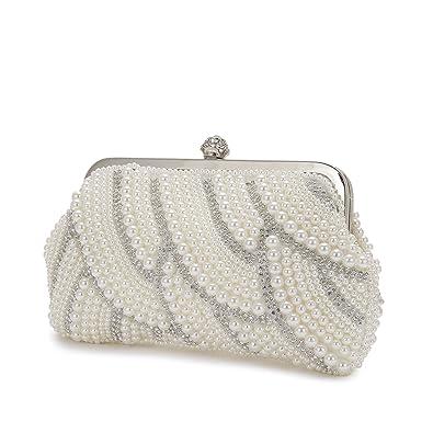 Ladies Diamante Clasp Diamante Pearl Clutch Bag Bridal Party Purse Handbag K6316