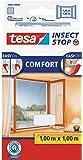 tesa Insect Stop COMFORT Fliegengitter für Fenster - Insektenschutz mit Klettband selbstklebend - Fliegen Netz ohne Bohren - Weiß, 100 cm x 100 cm